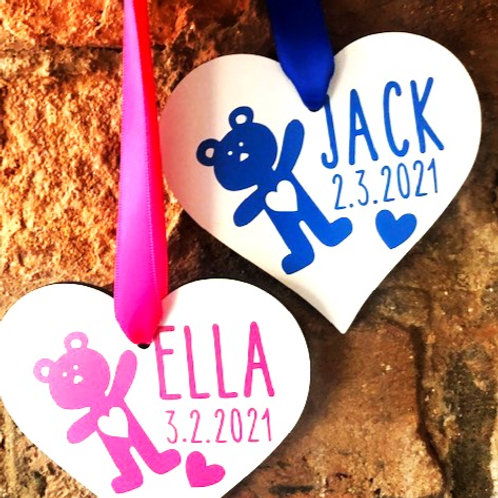 Welcome Baby Heart - Personalised
