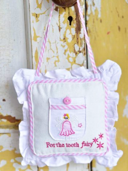Pink and White Tooth Fairy Cushion