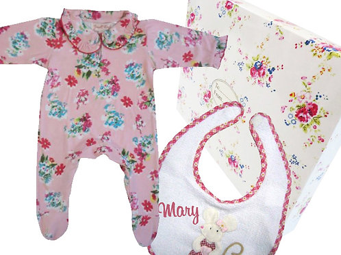 Pink Floral Theme Gift Box - Baby Grow + Bib