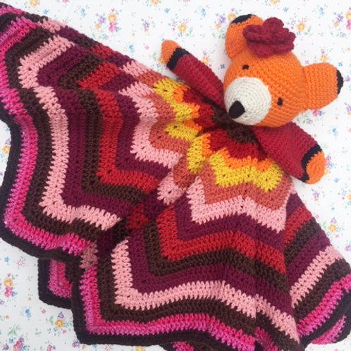 Miss Fox Retro-style Comforter / Lovey - HANDMADE