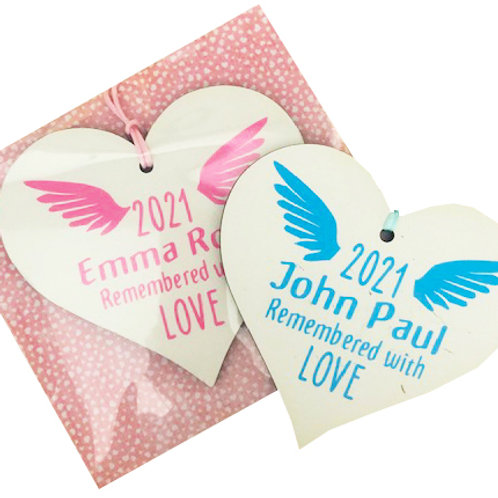 Wooden Heart Gift Packaged - Baby Loss
