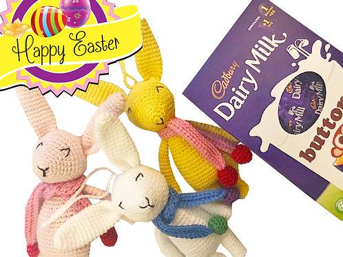 Handmade Crochet Bunny Decoration - FREE Easter Egg