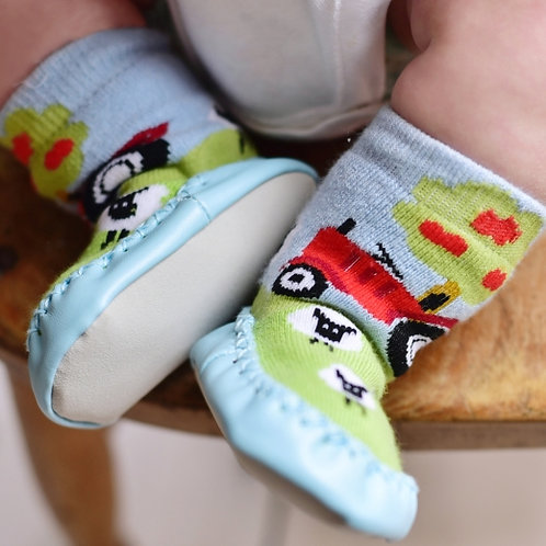 Farmyard Tractor Moccasin Slippers