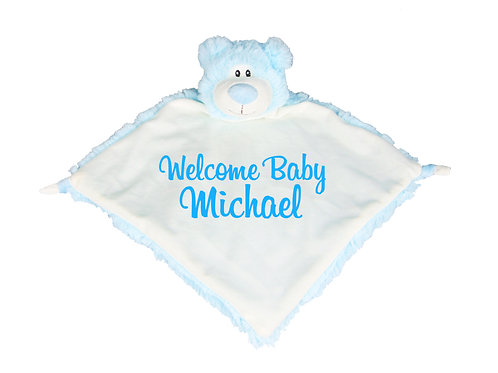 Blue Teddy Bear Plush Baby Comforter - Personalised