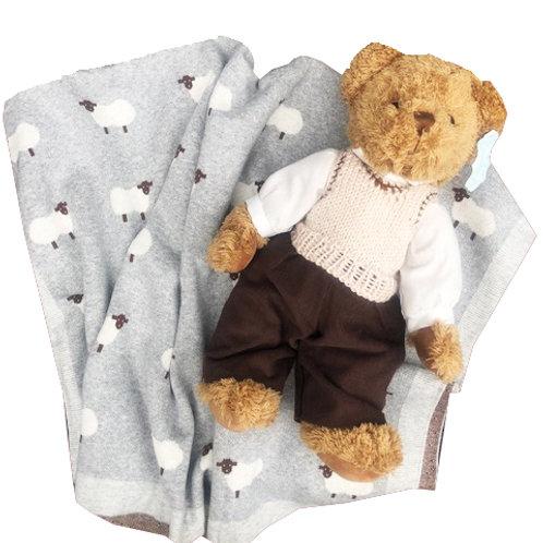 Grey Irish themed Sheep Blanket & Teddy - PERSONALISED