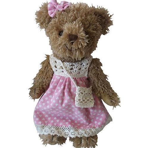 Pink Teddy Bear in Dress – PERSONALISED