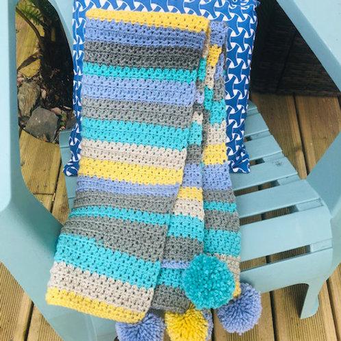 Handmade Crochet Picnic Rugs - Blue Stripe