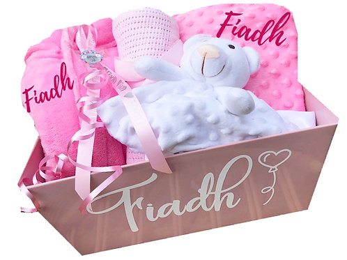 New Pink Baby Gift - Personalised Tray
