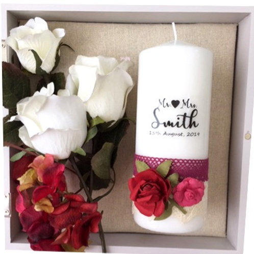 Vintage Rose Wedding Candle - Personalised