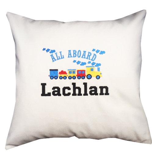 Cotton Canvas Train Cushion - Personalised