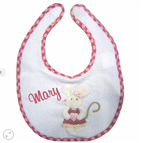 Mouse Themed Towelling Bib - Personalised