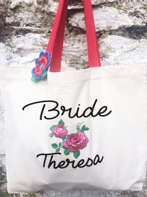 Embroidered Bridal Party Canvas Bags
