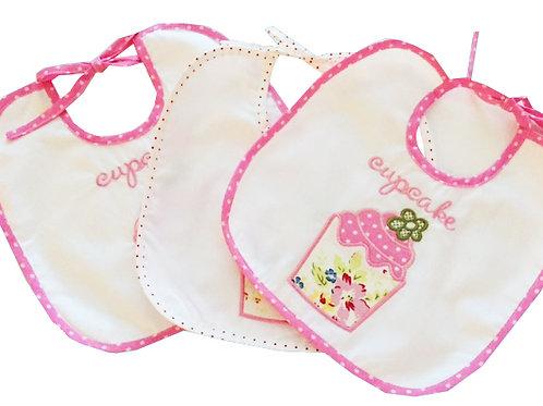 2 x Cotton Cupcake Baby Bibs Personalised