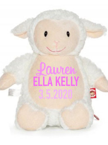 Fluffy Lamb Cubbie Teddy - Personalised