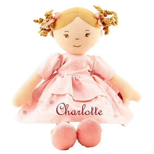 Soft Pink Linen Ragdoll Luxury Doll - PERSONALISED