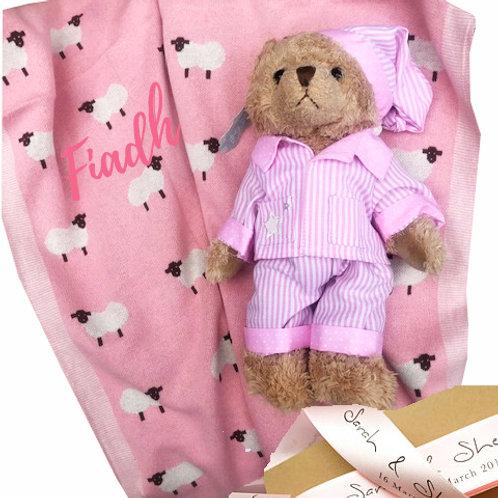 Pink Irish themed Sheep Blanket & Teddy - PERSONALISED