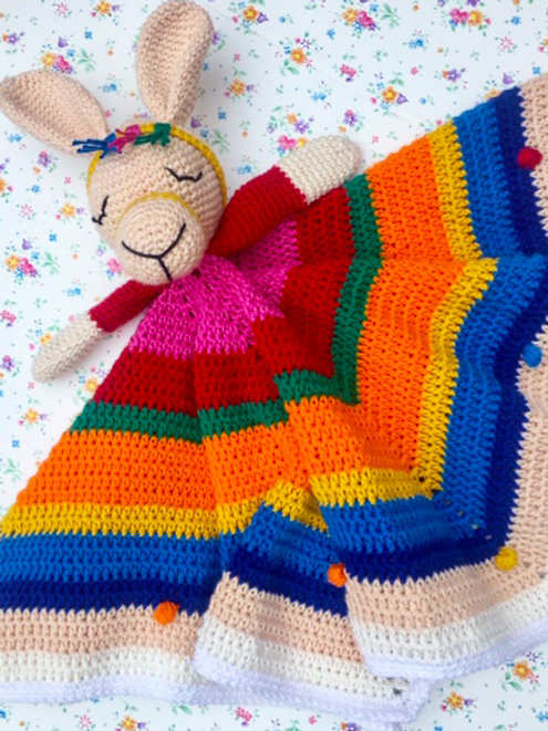 Llama Multi-colour Comforter / Lovey - HANDMADE