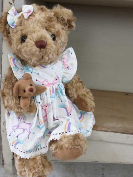 Unicorn  Teddy with Baby  – PERSONALISED