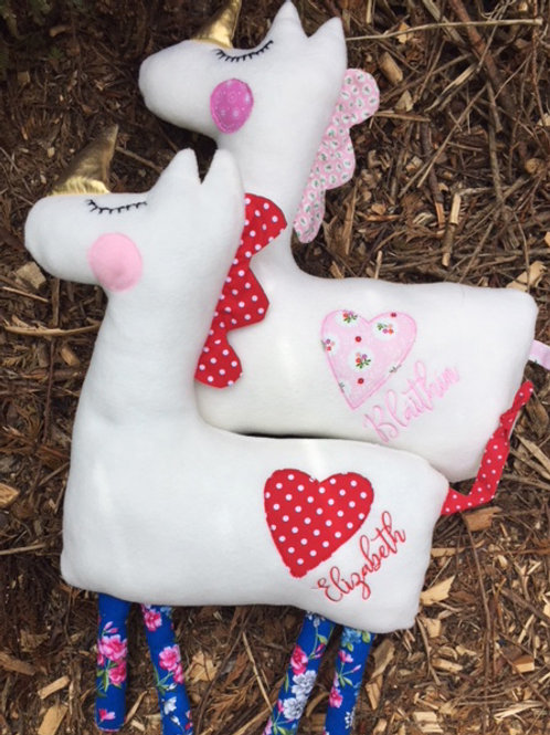 Unicorn Fleece Cushion - HANDMADE