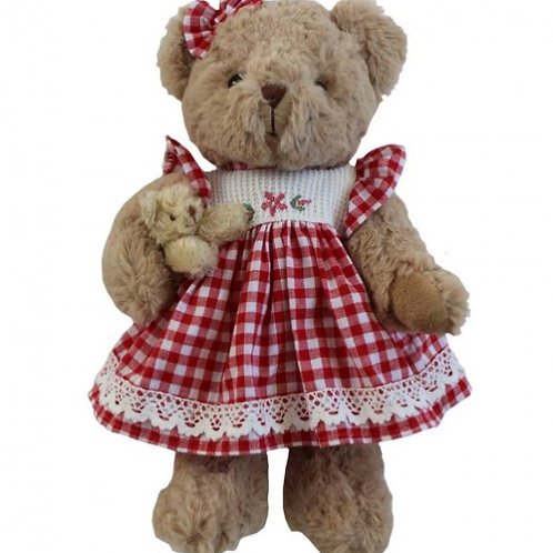 Red Gingham Teddy with Baby  – PERSONALISED