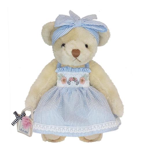 Blue Stripey Retro Teddy Bear - PERSONALISED