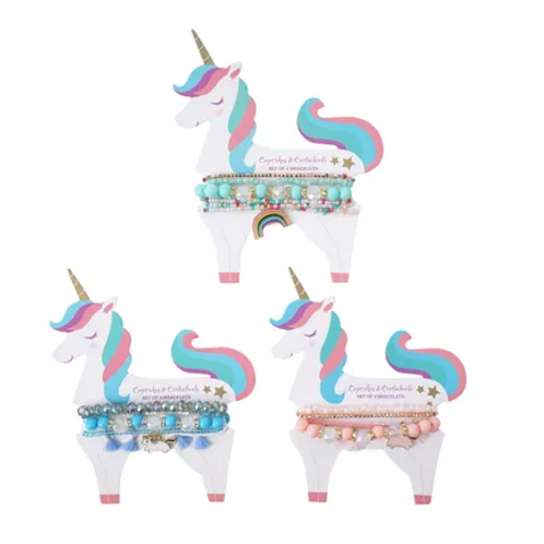 Unicorn beaded Bracelets - 3 per card