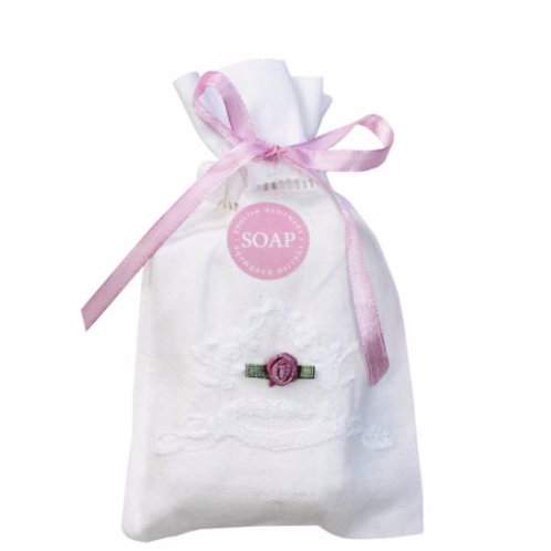 Embroidered Linen Drawstring Bag with Soap