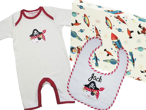 Pirate Theme Gift Box - Baby Grow + Bib