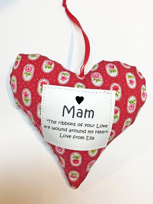 Handmade Heart Decoration - Mam/Mother