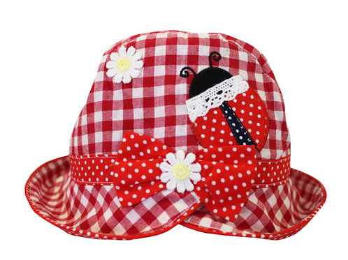 Red Checked Ladybird Sun Hat - Personalised