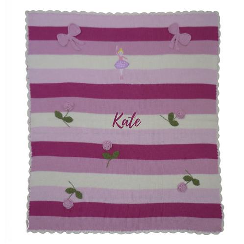 Ballet themed knitted pram blanket