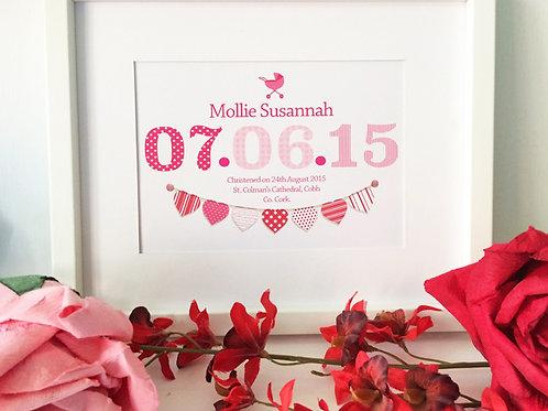 "Pink Baby Christening Print 10X12"" Box Frame"