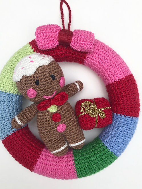 Christmas Crochet Wreath - Gingerbread Theme