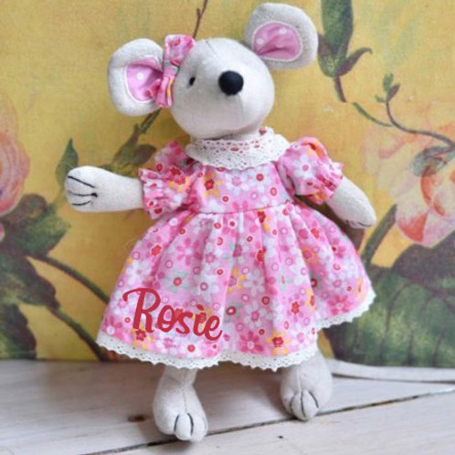 Patchwork Mouse with Floral Dress - PERSONALISED