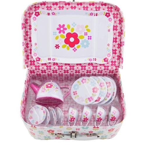 Retro Picnic Box Tea Set - Pink