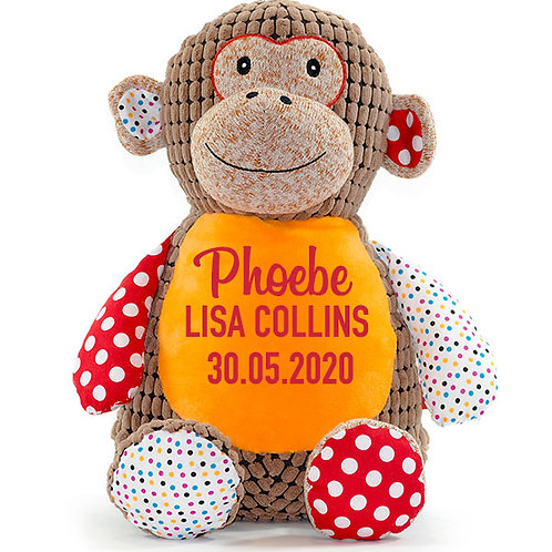 Patchwork Monkey Teddy - Personalised
