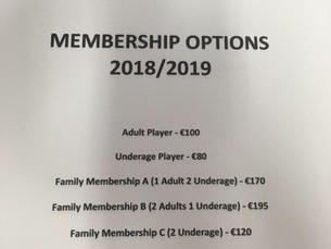 Membership Options 2018/2019