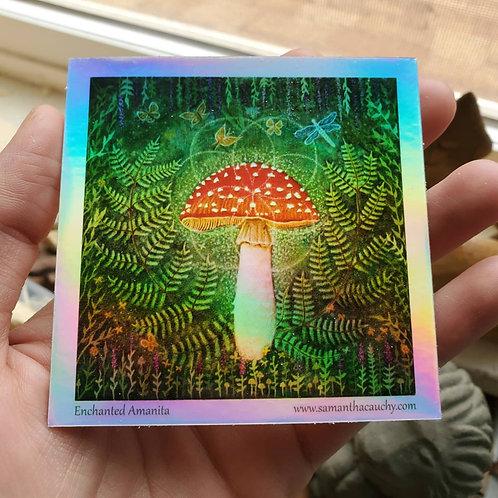 Holographic Enchanted Amanita Sticker