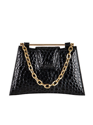 IVA Black Croco Embossed Leather
