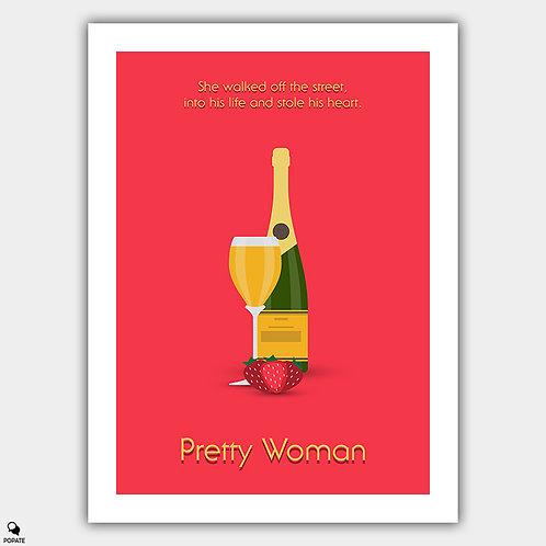 Pretty Woman Minimalist Poster - Champagne and Strawberries