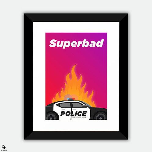 Superbad Minimalist Framed Print - Fuck The Police