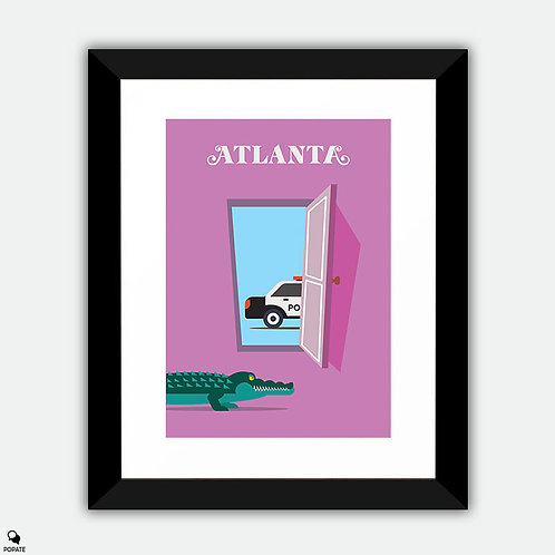 Atlanta Minimalist Framed Print - Alligator Man
