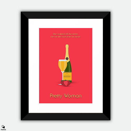 Pretty Woman Minimalist Framed Print - Champagne and Strawberries