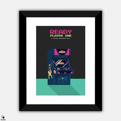 Ready Player One Minimalist Framed Print - 80's Arcade