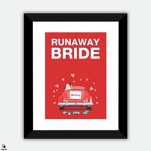 Runaway Bride Minimalist Framed Print - Off and Running