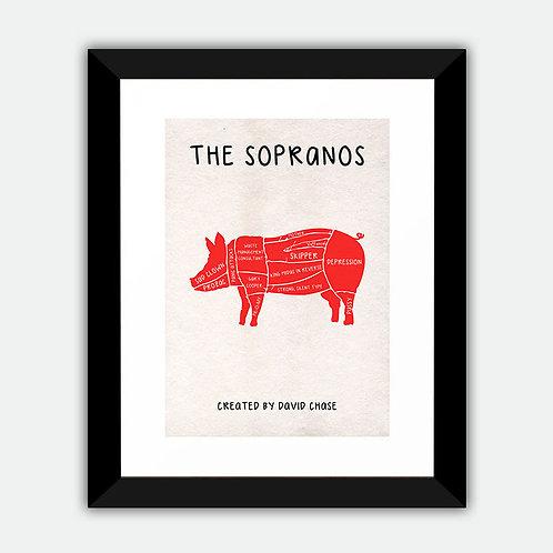 The Sopranos Minimalist Framed Print - Pork Cuts
