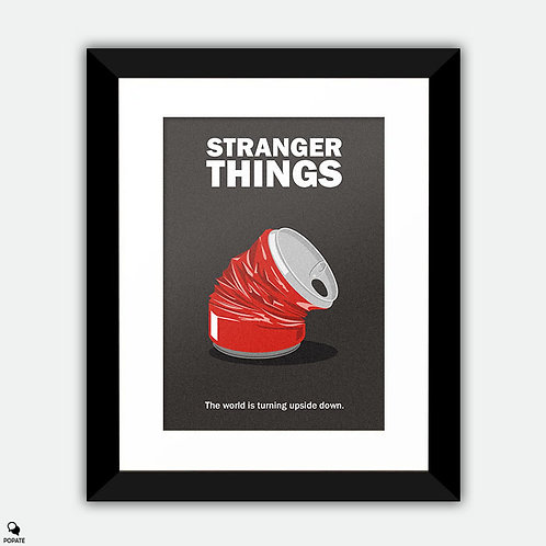 Stranger Things Minimalist Framed Print - Crushed Can