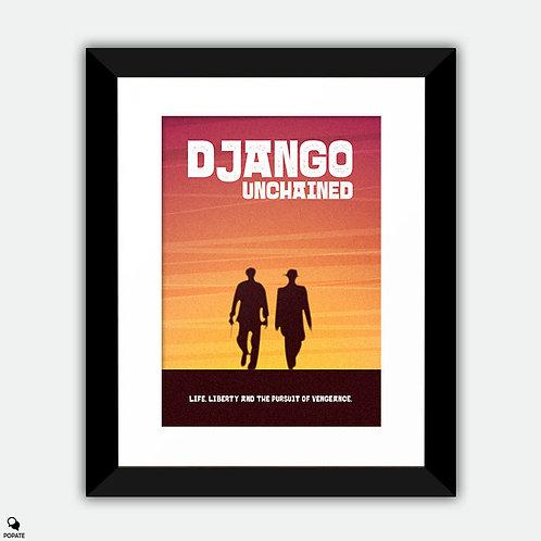 Django Unchained Minimalist Framed Print - Django and Schultz