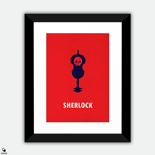Sherlock Minimalist Framed Print - Violin and Skull