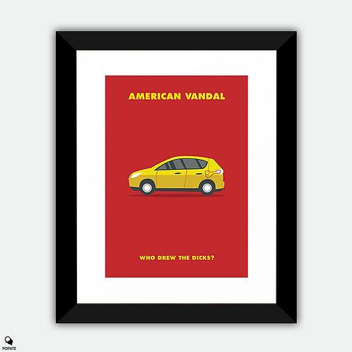 American Vandal Minimalist Framed Print - #WhoDrewTheDicks